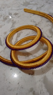 Yellow Head Band and Bangles with Purple Beads